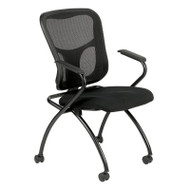 Eurotech by Raynor Eurotech Flip with Arms Mesh Back Fabric Seat Nesting Chair (2-pack) - NT5000ARM-BLK