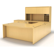 """* MONTHLY SPECIAL! Mayline Aberdeen Executive U-Shaped Desk 72"""" w/Wood Door Hutch Package Maple - AT10-LMA"""