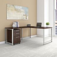 "BBF Bush 400 Series L-Shaped Table Desk 60"" x 30"" w Return and 3-Drawer Mobile Pedestal, Mocha Cherry -  400S130MR"