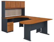BBF Bush Series A U-Shaped Desk with Hutch, Peninsula and Storage in Natural Cherry - SRA009NC
