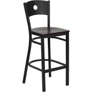 Flash Furniture Circle Back Metal Restaurant Barstool with Mahogany Wood Seat - XU-DG-60120-CIR-BAR-MAHW-GG