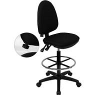 Flash Furniture Mid-Back Fabric Multi-functional Drafting Stool Black - WL-A654MG-BK-D-GG