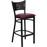 Flash Furniture Coffee Back Metal Restaurant Barstool with Burgundy Vinyl Seat - XU-DG-60114-COF-BAR-BURV-GG