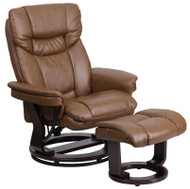 Flash Furniture Contemporary Palimino LeatherSoft Recliner and Ottoman with Swiveling Wood Base - BT-7821-PALIMINO-GG