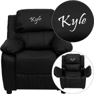 Flash Furniture Kid's Recliner with Storage Dreamweaver Embroiderable Black Leather - BT-7985-KID-BK-LEA-EMB-GG