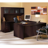 * MONTHLY SPECIAL! Mayline Aberdeen Executive U-Shaped Desk 72 w/Glass Door Hutch Package Mocha - AT5