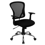 Flash Furniture Mid-Back Black Mesh Office Chair with Chrome Finished Base - H-8369F-BLK-GG