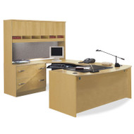 BBF Bush Series C Package Executive U-Shaped Bowfront Desk with 4-Door Hutch - OAKPackageA