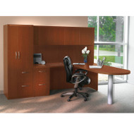 * MONTHLY SPECIAL! Mayline Aberdeen Executive L-Shaped Peninsula Desk Package Cherry - AT22-LCR