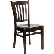 Flash Furniture Wood Vertical Back Chair with Walnut Finish and Walnut Wood Seat - XU-DGW0008VRT-WAL-GG