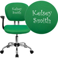 Flash Furniture Mid-Back Bright Green Mesh Task Chair with Arms and Chrome Base and Includes Embroidery-H-2376-F-BRGRN-ARMS-EMB-GG