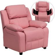 Flash Furniture Kid's Recliner with Cup Holder Pink Vinyl Storage - BT-7985-KID-PINK-GG