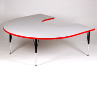 Correll High-Pressure Top Activity Table Horseshoe Shape  60 x 66 with Colored T-Mold - A6066-HOR-T