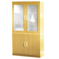 Mayline Aberdeen Storage Cabinet and Glass Display Cabinet Maple - ASC-AGDC-LMA