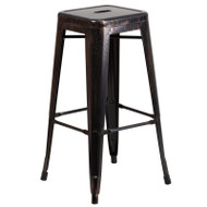 "Flash Furniture Black-Antique Gold Metal Indoor-Outdoor Barstool 30""H - CH-31320-30-BQ-GG"