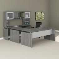"Mayline Medina Laminate Executive 63"" U-Shaped Desk Package Gray Steel - MNT40LGS"