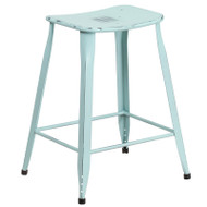 """Flash Furniture Distressed Green-Blue Metal Indoor-Outdoor Counter Height Saddle Stool 24""""H - ET-3604-24-DISBL-GG"""