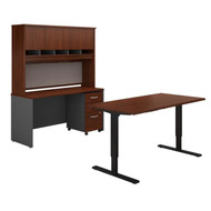 "BBF Bush Series C Package Height Adjustable Standing Desk 60""W, Credenza, Hutch and Storage Hansen Cherry - SRC107HCSU"