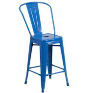 "Flash Furniture Blue Metal Indoor-Outdoor Counter Height Chair 24""H - CH-31320-24GB-BL-GG"