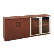 * MONTHLY SPECIAL! Mayline Napoli or Corsica Veneer Low Wall Cabinet, Wood & Glass Door Combination Sierra Cherry - VLC-CRY