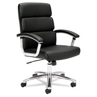 Basyx Black Leather Executive Mid-Back Chair - VL103SB11