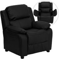 Flash Furniture Kid's Recliner with Storage Black Leather - BT-7985-KID-BK-LEA-GG