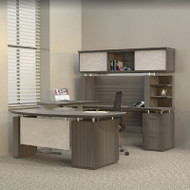 * MONTHLY SPECIAL! Mayline Sterling Executive U-Shaped Desk 72 with two Pedestals Textured Driftwood - STL41H3-TDW