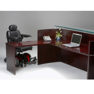 Mayline Napoli Veneer Reception Desk with Universal ADA Return Mahogany - NRSLBA