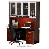 """CLEARANCE SPECIAL! Mayline Napoli Credenza 63"""" and Pedestal Package Sierra Cherry - XP-NT70-CRY"""