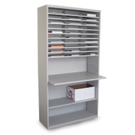 """Marvel 30 Compartment Mail Sorter Station with Adjustable Work Surface Slate Gray 80""""H x 42""""W - UTMS8042_GRY"""
