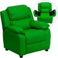 Flash Furniture Kid's Recliner with Storage Green Vinyl - BT-7985-KID-GRN-GG
