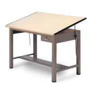 """Mayline Ranger Steel Four-Post Drafting Table with Tool Drawer 84"""" - 7739A"""