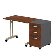 BBF Bush Series C Package Adjustable Height Mobile Table with 3-Drawer Mobile Pedestal Hansen Cherry - SRC027HCSU