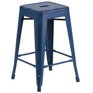 "Flash Furniture Distressed Antique Blue Metal Indoor-Outdoor Counter Height Stool 24""H - ET-BT3503-24-AB-GG"