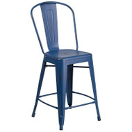 "Flash Furniture Distressed Antique Blue Metal Indoor-Outdoor Counter Height Chair 24""H - ET-3534-24-AB-GG"