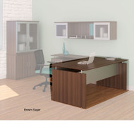 """* MONTHLY SPECIAL! Mayline Medina Laminate Executive Desk Straight 63"""" Textured Brown Sugar Finish - MNDS63TBS"""