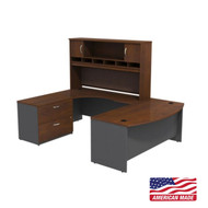 "BBF Bush Series C Package U-Shaped Bowfront Desk 72"" with Hutch and Storage in Hansen Cherry Left - SRC005HCLSU"