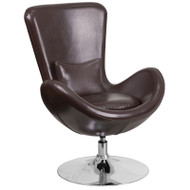 Flash Furniture Egg Series Reception Lounge Side Chair LeatherSoft Brown - CH-162430-BN-LEA-GG