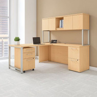 """BBF Bush 400 Series L-Shaped Table Desk 72"""" x 22"""" with 48"""" Return, Hutch and 3 Drawer Pedestal, Natural Maple - 400S127AC"""