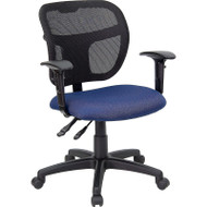 Flash Furniture Mid Back Mesh Task Chair with Navy Fabric Seat and Arms - WL-A7671SYG-NVY-A-GG