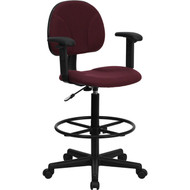 Flash Furniture Fabric Ergonomic Drafting Stool with Arms Burgundy - BT-659-BY-ARMS-GG