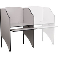 Flash Furniture Starter Study Carrel in Gray Finish - MT-M6201-GY-GG