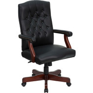 Flash Furniture Martha Washington Black Leather Executive Swivel Chair - 801L-BLACK