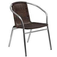 Flash Furniture Aluminum with Dark Brown Rattan Indoor-Outdoor Restaurant Stack Chair - TLH-020-GG
