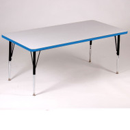 Correll High-Pressure Top Activity Table Rectangle Shape 30 x 60 with Colored T-Mold - A3060-REC