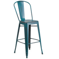 """Flash Furniture Distressed Kelly Blue-Teal Metal Indoor-Outdoor Bar Height Chair 30""""H - ET-3534-30-KB-GG"""