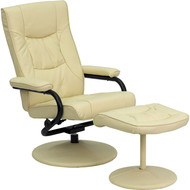 Flash Furniture Contemporary Cream Leather Recliner and Ottoman - BT-7862-CREAM-GG