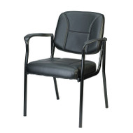 Eurotech by Raynor Dakota Black Vinyl Guest Chair with Arms - VS8012