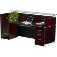 Mayline Napoli Veneer Reception Desk with Pedestals and Center Drawer Mahogany - NRSBF