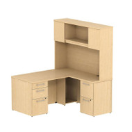 "BBF Bush 300 Series L-Shaped Desk with Pedestals 60"" Natural Maple - 300S052AC"
